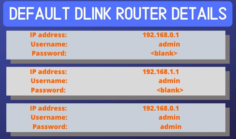 default dlink router details