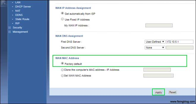 Factory reset zyxel Router