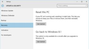 update and recovery option in window 10