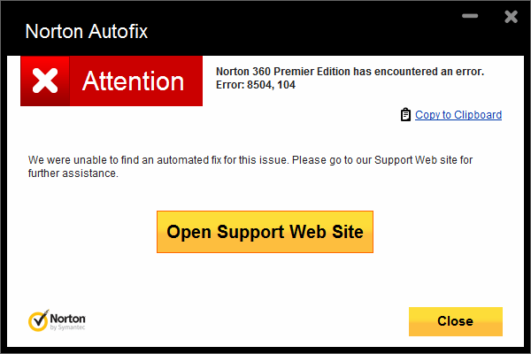 Fix Norton Installation Error 8504, Or Error 104