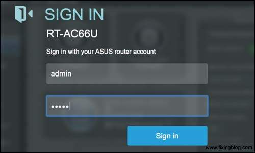 Sign in asus router login page