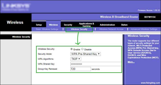 password setup linksys router