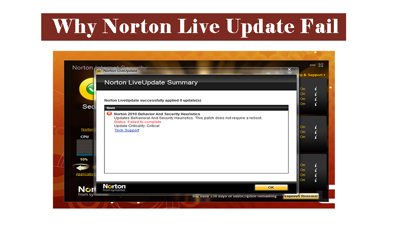 norton live update fail